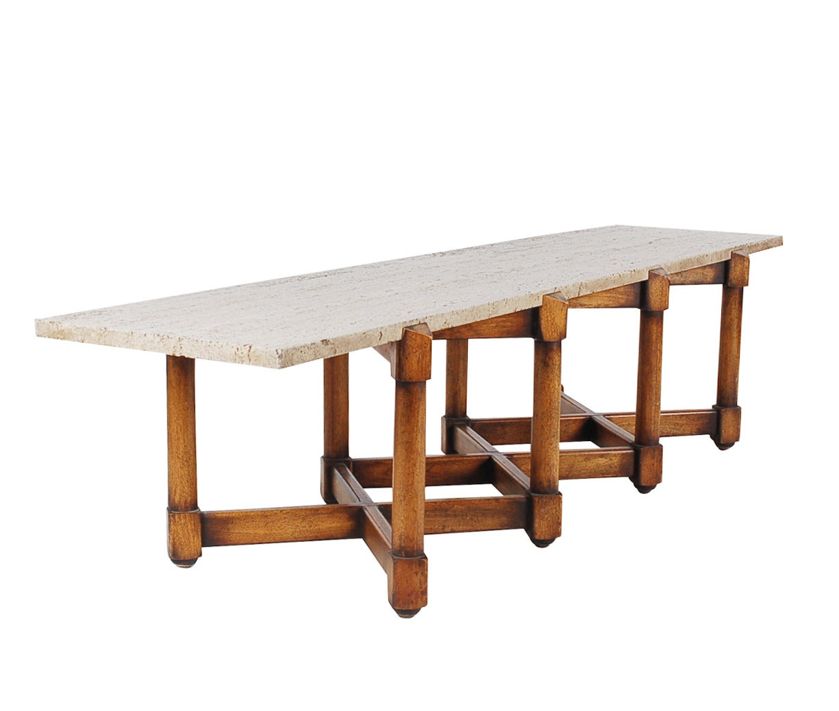 Terrazzo marble and walnut coffee table attributed to for Marble and walnut coffee table