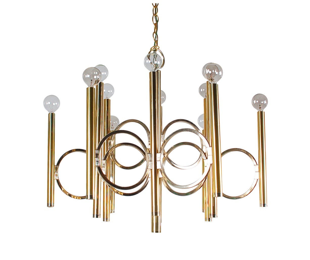 1970s Gaetano Sciolari for Lightolier chandelier, signed with manufacture label. Wired and in working condition. Takes 12 candelabra bulbs, 40W-max each. Measure: 13