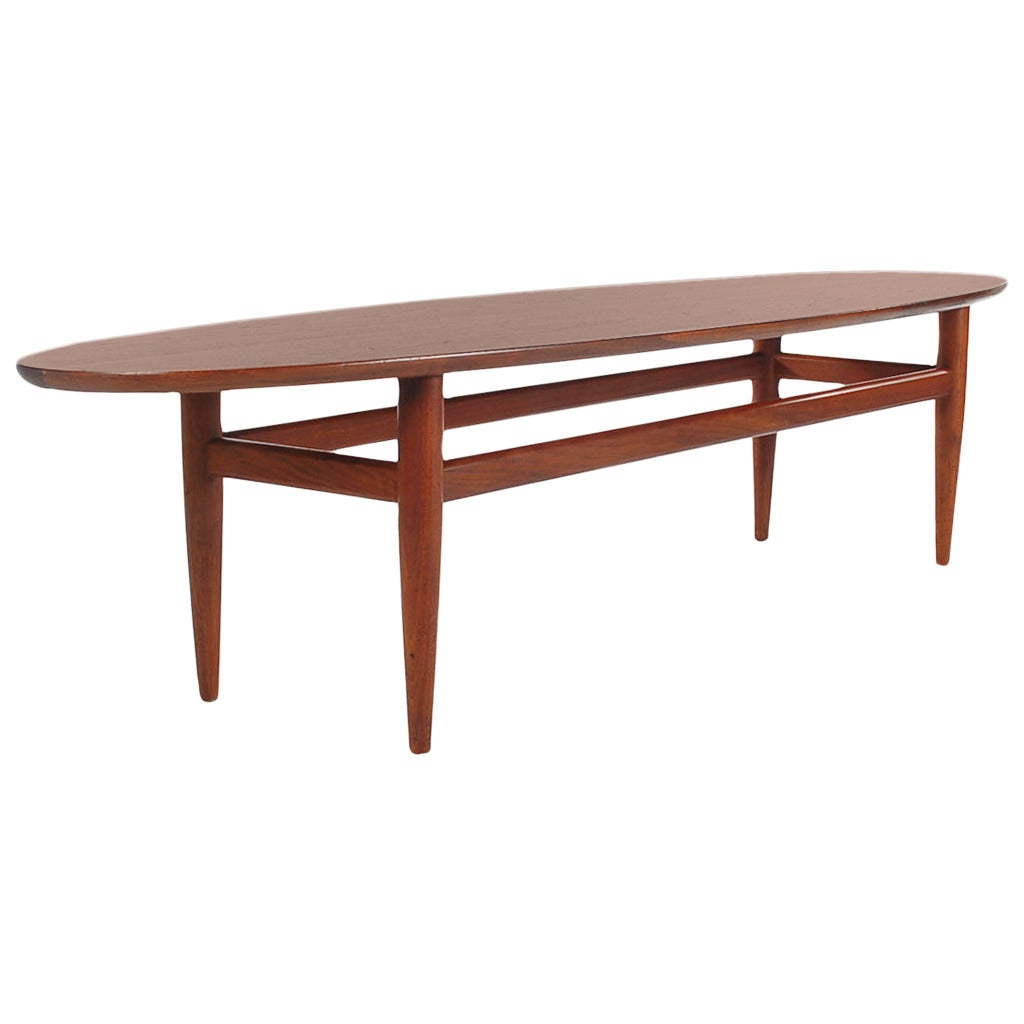 Mid Century Danish Modern Style Surfboard Coffee Table In Walnut By Drexel At 1stdibs