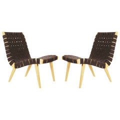 Matching Pair of Jens Risom for Knoll Webbed Lounge Chairs in Maple