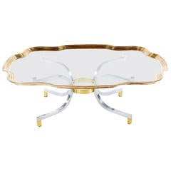 Hollywood Regency Brass Tray Coffee Table after LaBarge or Maison Jansen