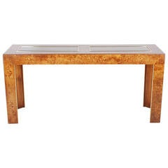 Burl and Brass Console Table after Milo Baughman