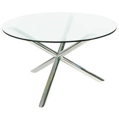 Vintage Chrome Jax Tripod Dining Table After Milo Baughman