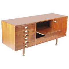 Jens Risom Walnut Credenza with Y Pulls