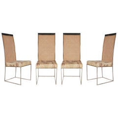Chrome and Cane Dining Chairs by Milo Baughman