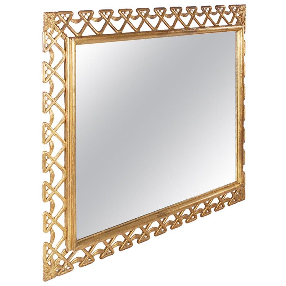 Hollywood Regency Grosfeld House Giltwood Frame Wall Mirror, Mid Century Modern