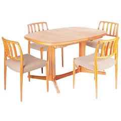 Mid Century Modern Danish Teak Dining Chairs and Table by Neils Moller