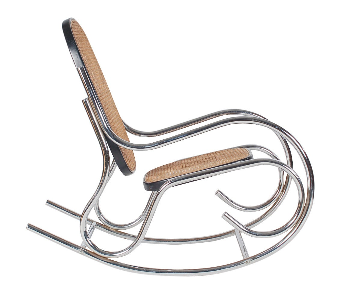 Breuer chair cane - Scrolled Chrome And Cane Rocking Chair In The Manner Of Marcel Breuer 2