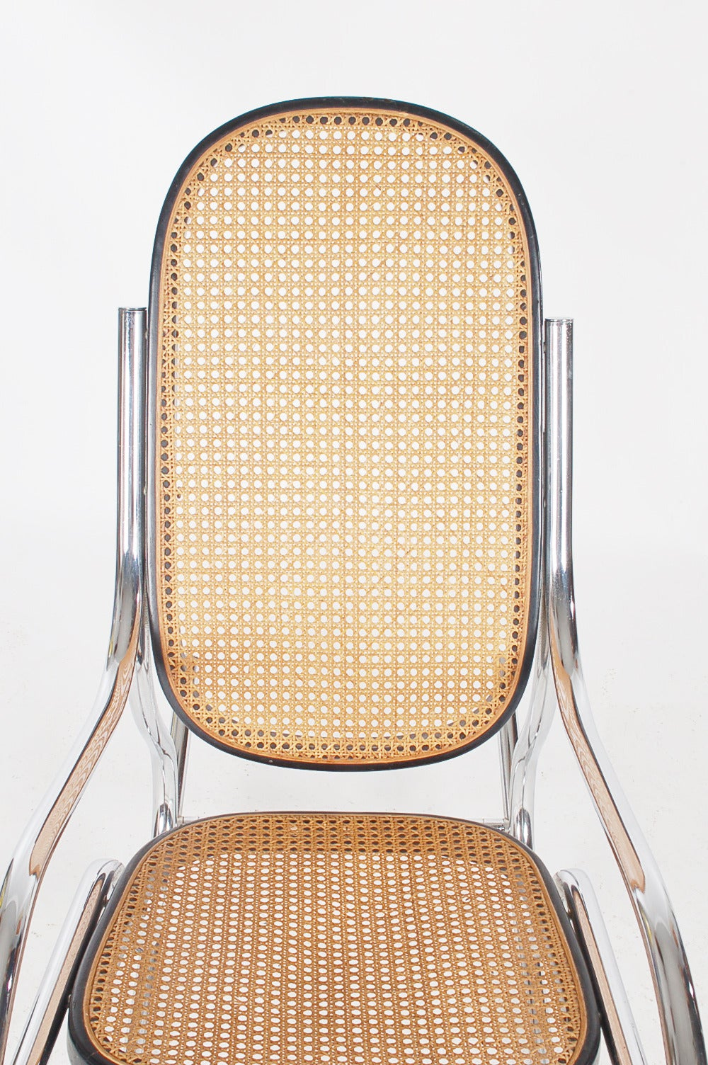 Breuer chair cane - Scrolled Chrome And Cane Rocking Chair In The Manner Of Marcel Breuer 3