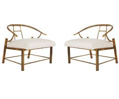 Matching Pair of Brass Lounge Chairs by Mastercraft