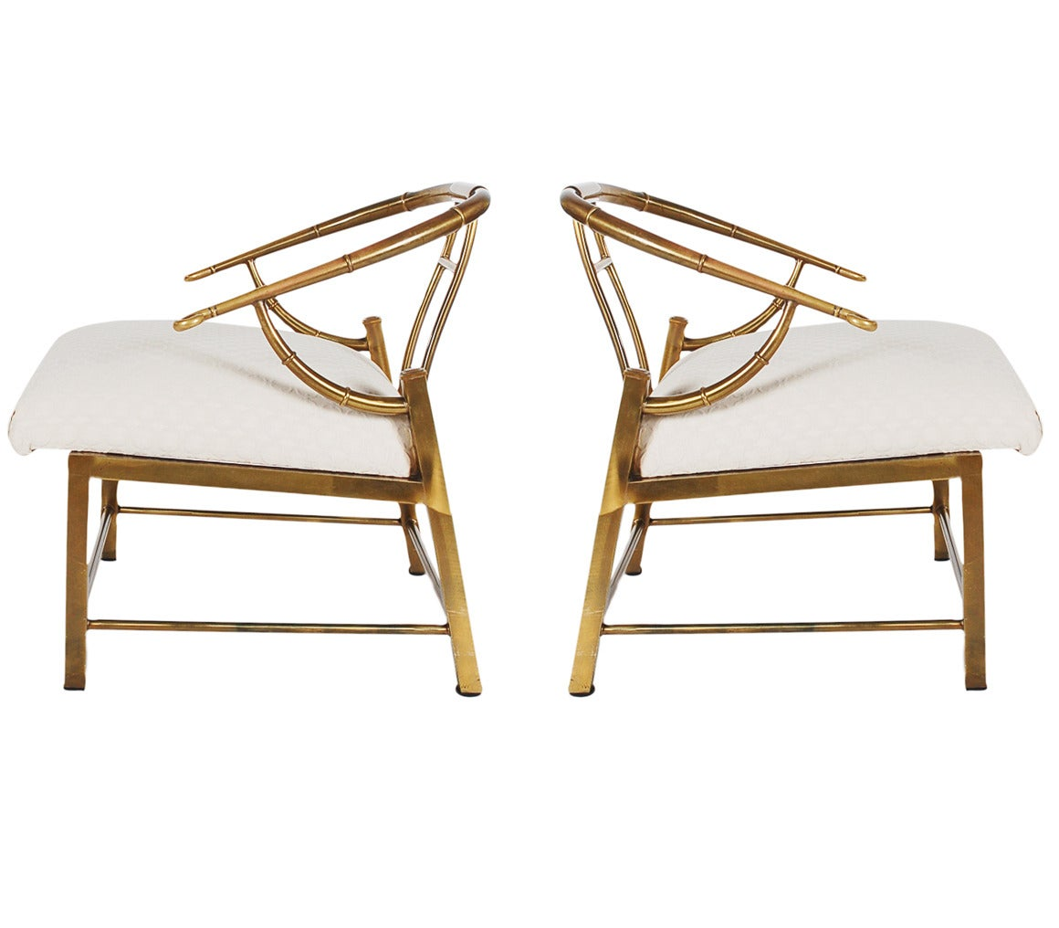 Matching pair of brass lounge chairs by mastercraft at 1stdibs for Matching lounge furniture