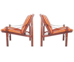 Torbjorn Afdal Rosewood and Leather Lounge Chairs