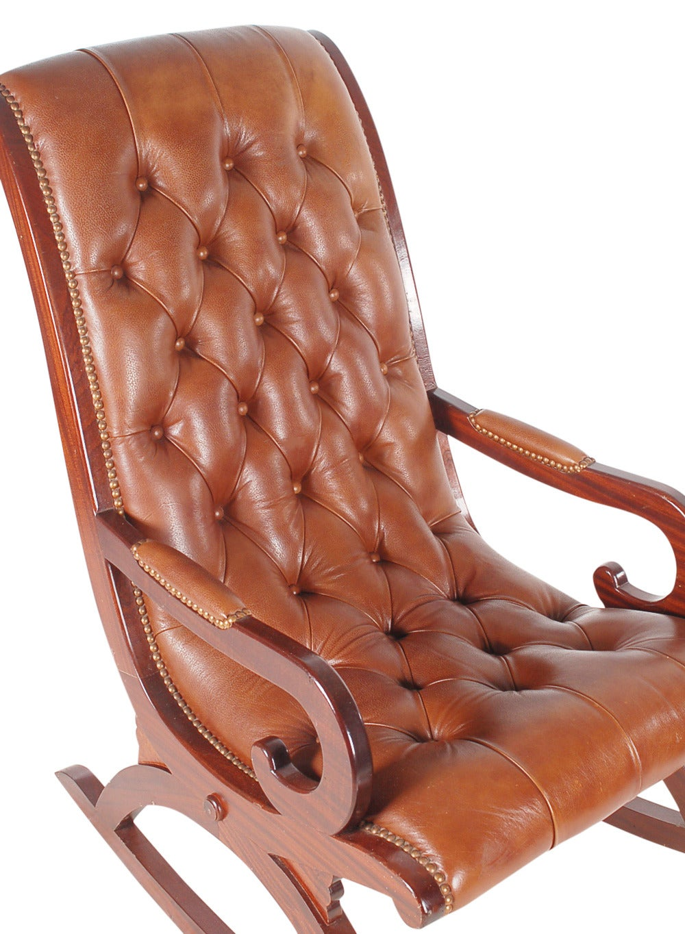 Vintage Leather Chesterfield Style Mahogany Rocking Chair For Sale at ...