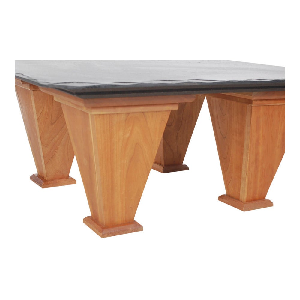 Mid century modern art deco style cherry and slate for Modern cherry coffee table