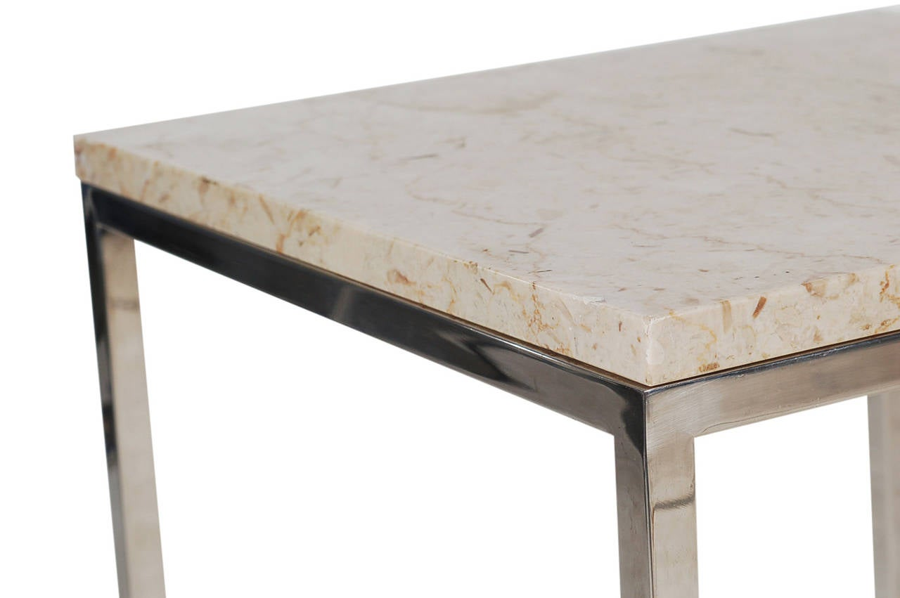 Late 20th Century Mid-Century Modern Italian Chrome and Marble End Tables For Sale