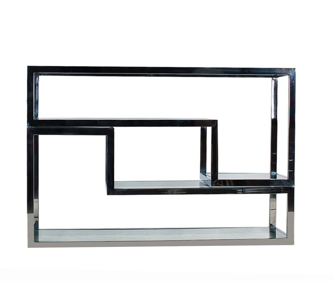 mid century modern chrome glass etagere or tv media table. Black Bedroom Furniture Sets. Home Design Ideas