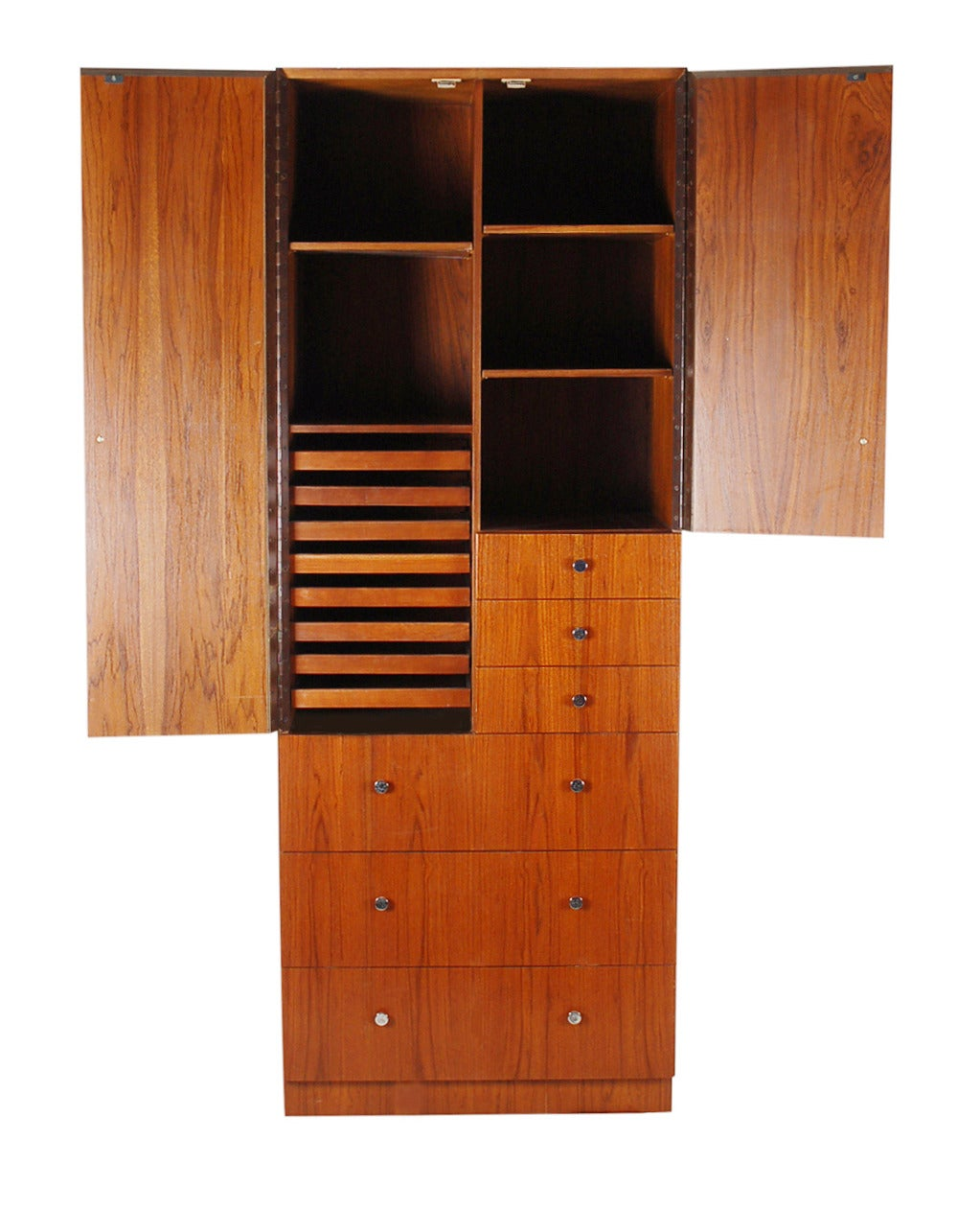 Tall Mid-Century Modern Cabinet in Walnut with Chrome Pulls at 1stdibs