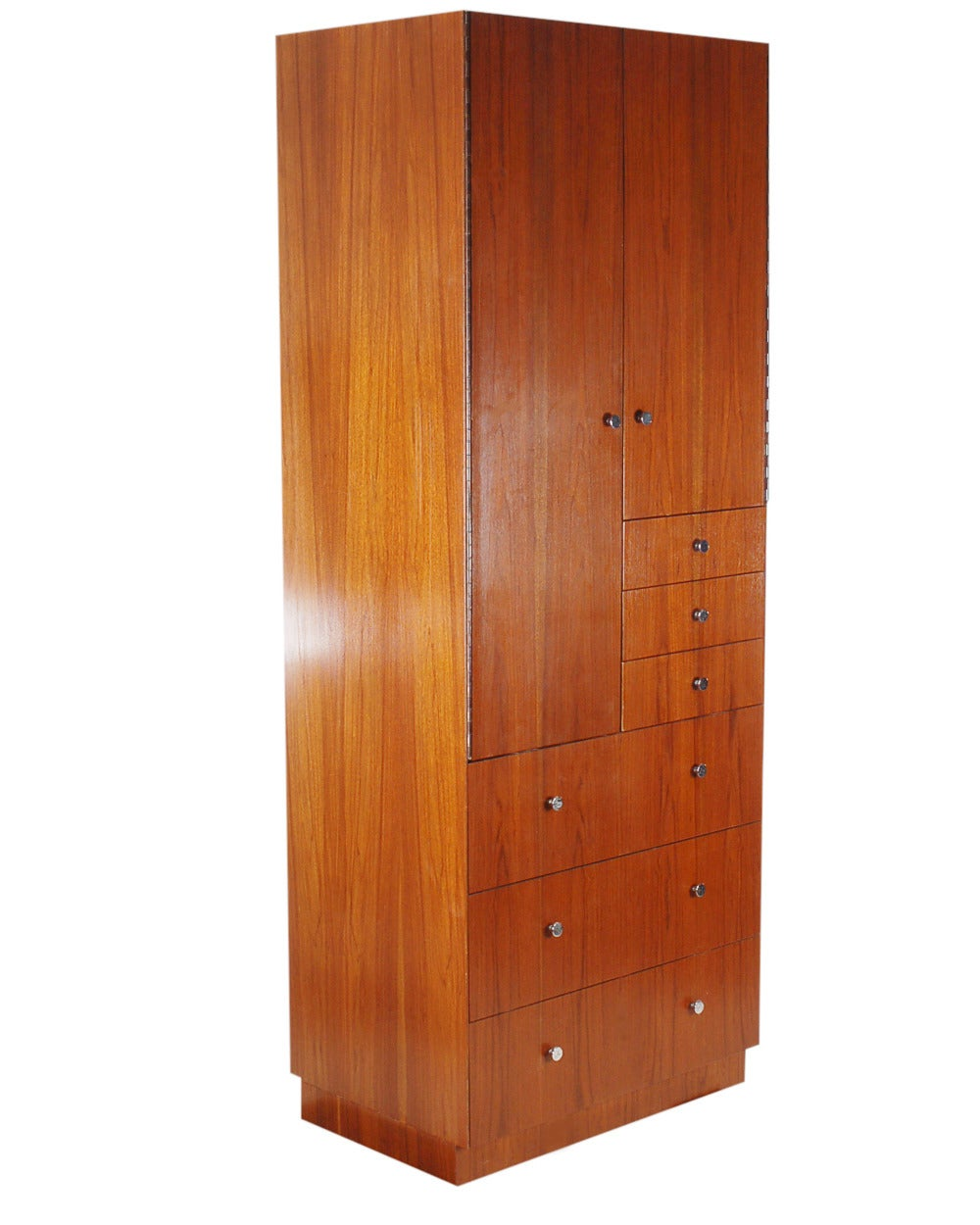 Tall mid century modern cabinet in walnut with chrome for Best mid priced kitchen cabinets