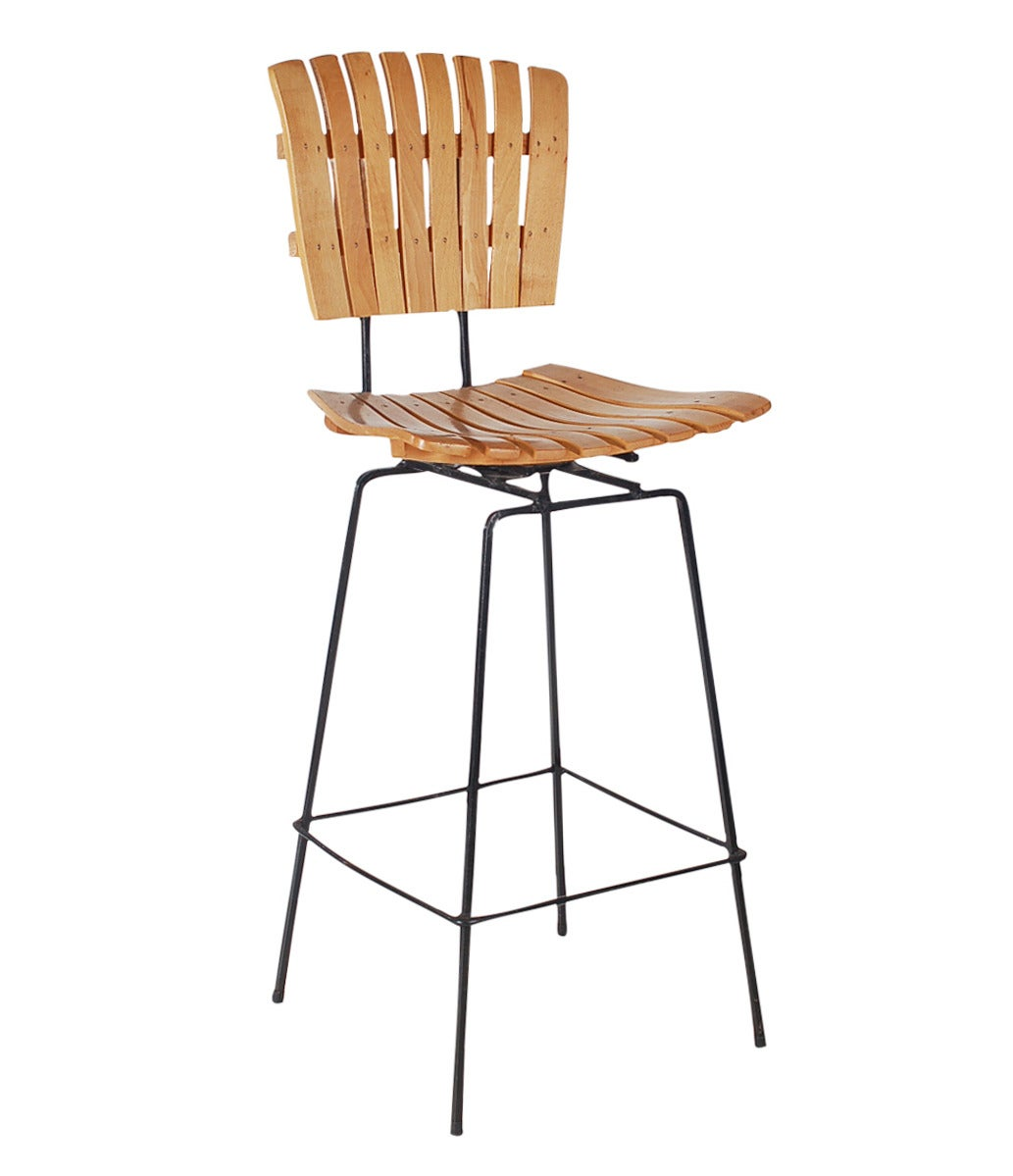 Wrought Iron And Slat Wood Bar Stools By Arthur Umanoff At 1stdibs