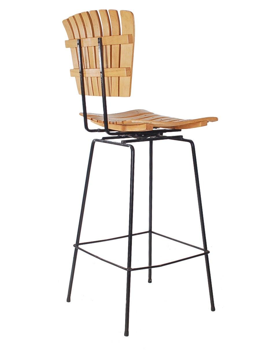 Wrought Iron Bar Stools ~ Wrought iron and slat wood bar stools by arthur umanoff at