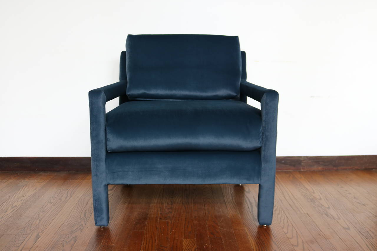 Velvet Parsons Armchair in the Style of Milo Baughman 2Velvet Parsons Armchair in the Style of Milo Baughman at 1stdibs of Parsons Arm Chair