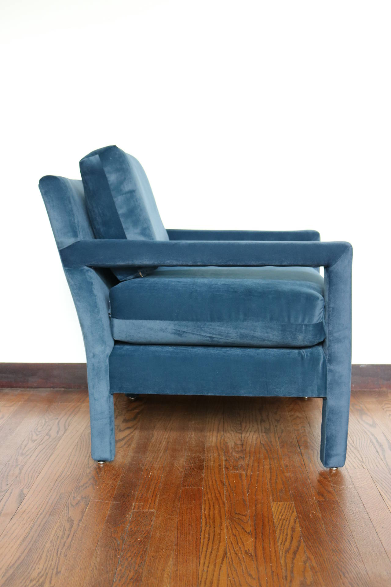 Velvet Parsons Armchair In The Style Of Milo Baughman 3