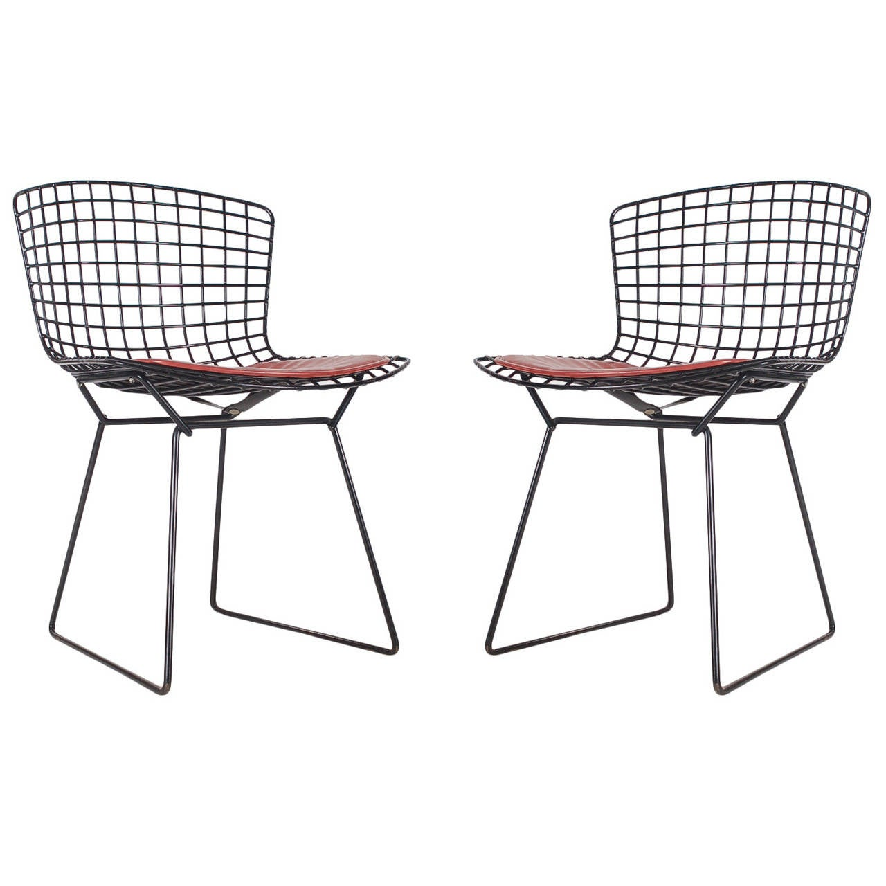 Harry Bertoia for Knoll Wire Side Chairs in Black at 1stdibs