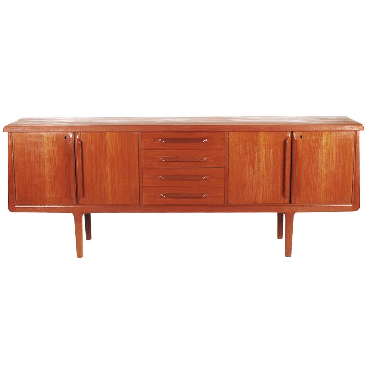 Mid-Century Modern Danish Long Teak Credenza after Kai Kristensen or Arne Vodder For Sale