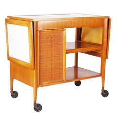 Mid-Century Wood and Cane Bar Cart in the Style of Edward Wormley