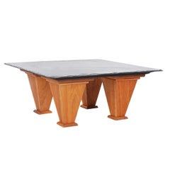 Mid Century Modern Art Deco Style Cherry and Slate Cocktail Table, Custom Made