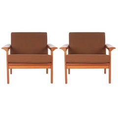 Mid Century Danish Modern Teak Lounge Chairs in the Manner of Peter Hvidt