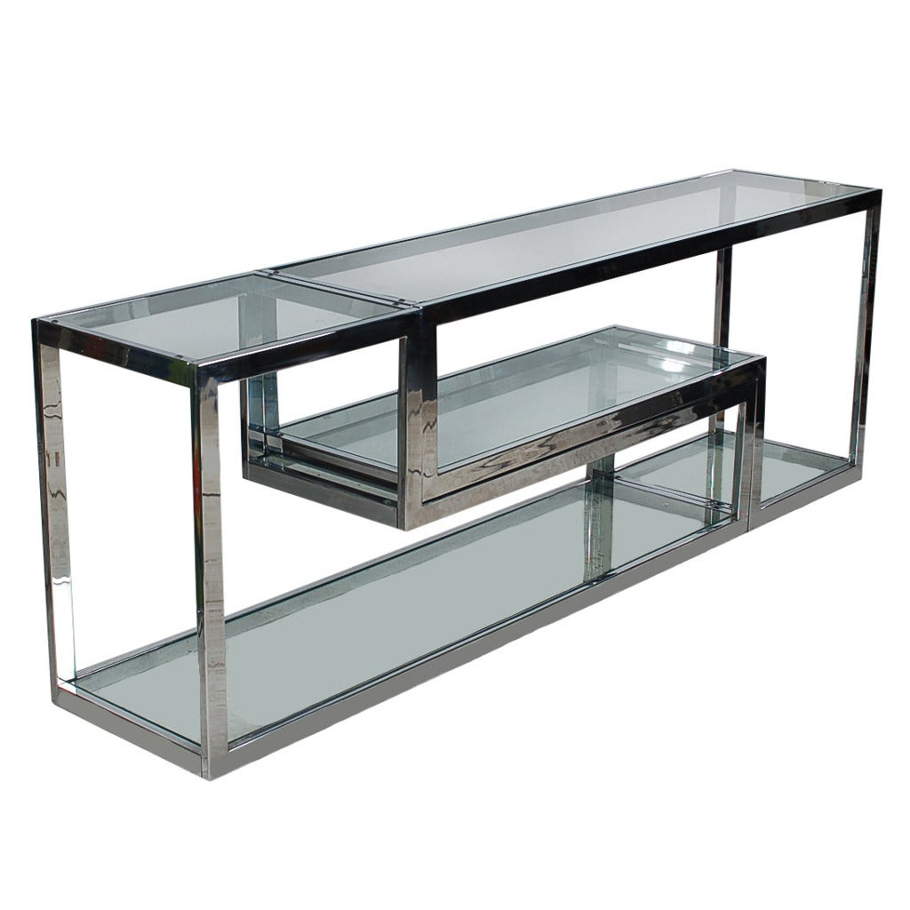 mid century modern chrome glass etagere or tv media table after milo baughman for sale at 1stdibs. Black Bedroom Furniture Sets. Home Design Ideas