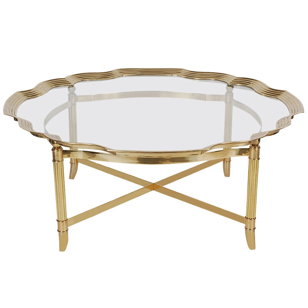 hollywood regency brass and glass tray coffee table after labarge
