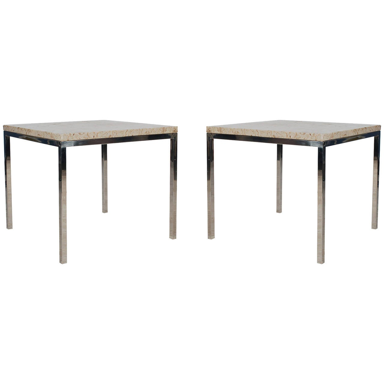 Mid-Century Modern Italian Chrome and Marble End Tables For Sale ...