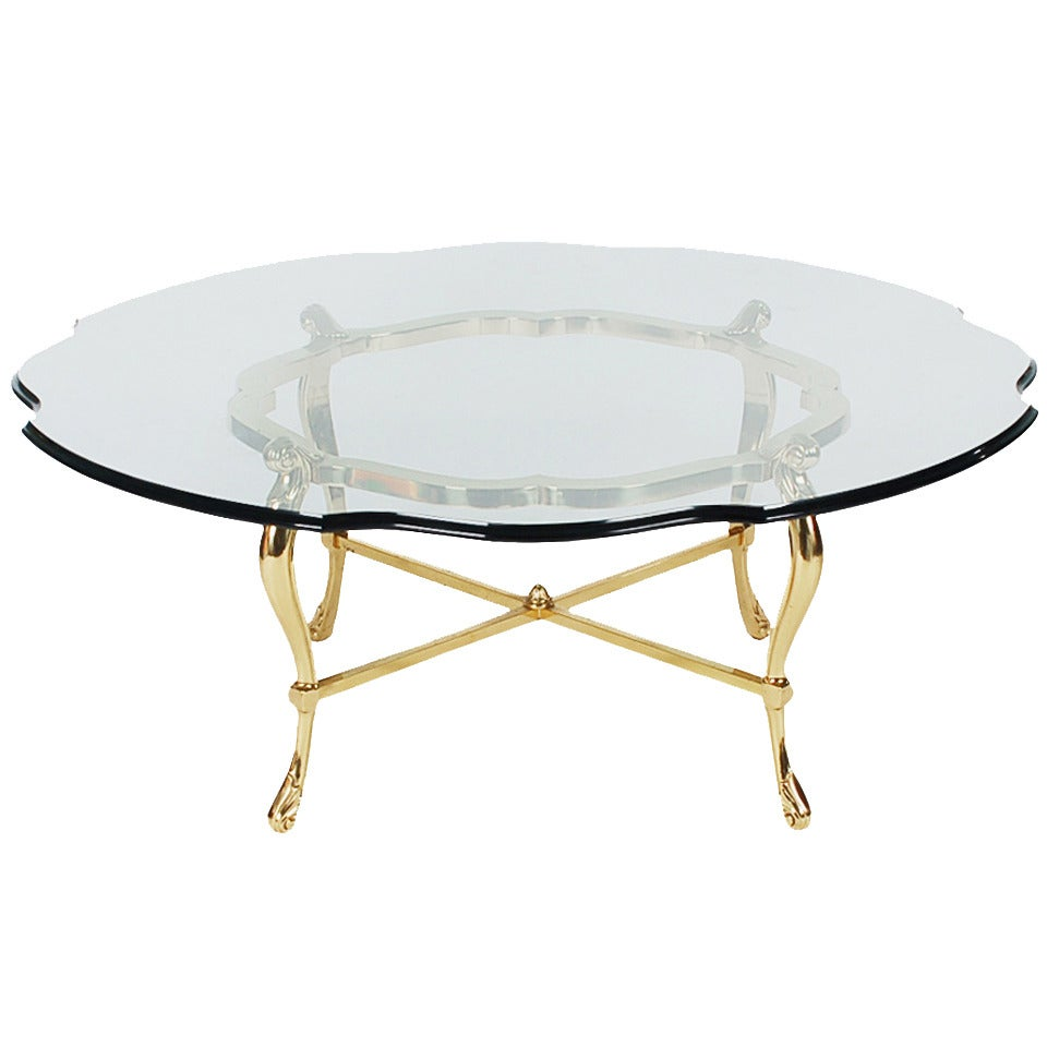 Hollywood Regency Brass and Glass Coffee Table after La Barge 1