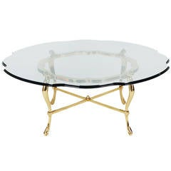 Hollywood Regency Brass and Glass Coffee Table after La Barge
