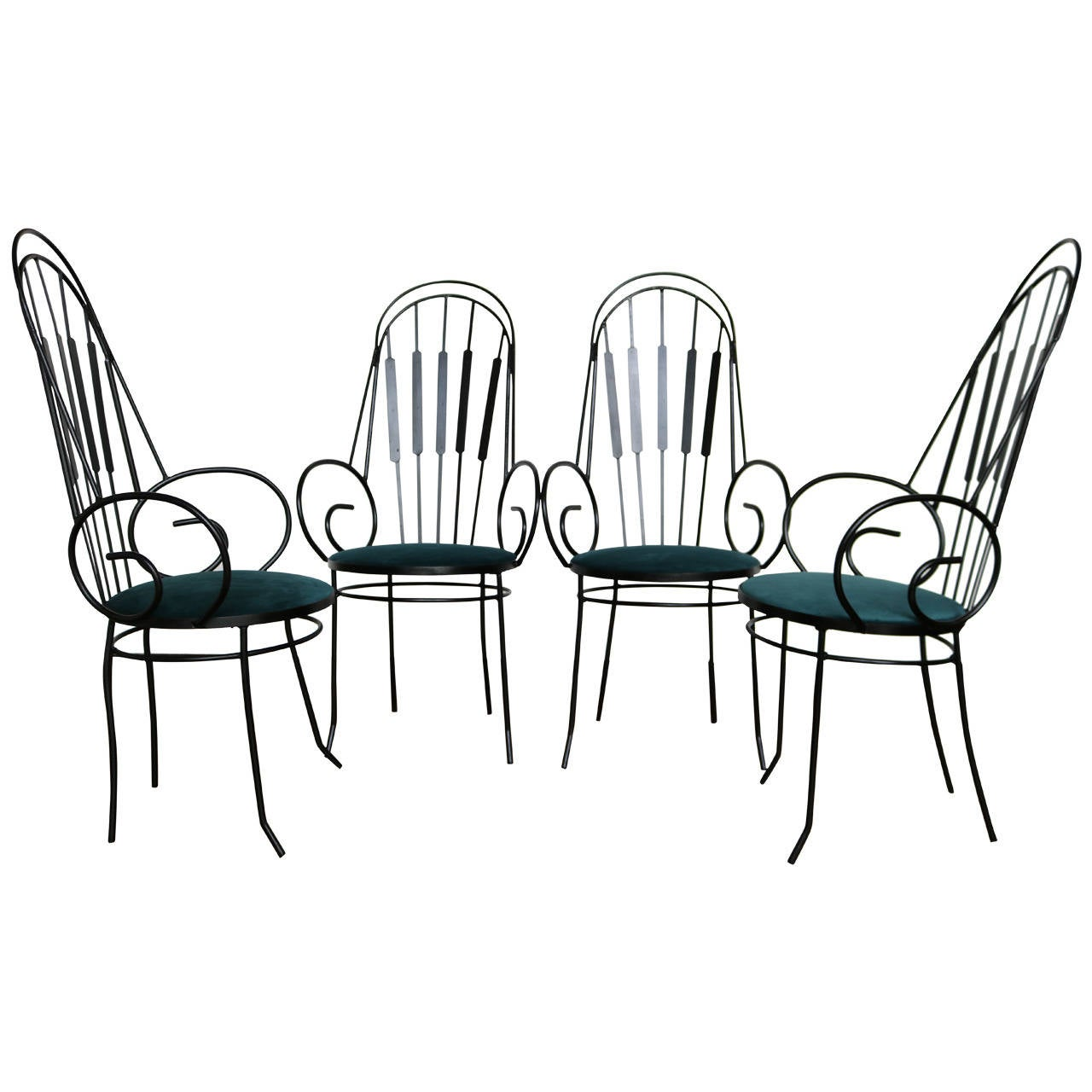 Perfect Four Arthur Umanoff Four G 22 Iron And Velvet Chairs For Shaver Howard For  Sale