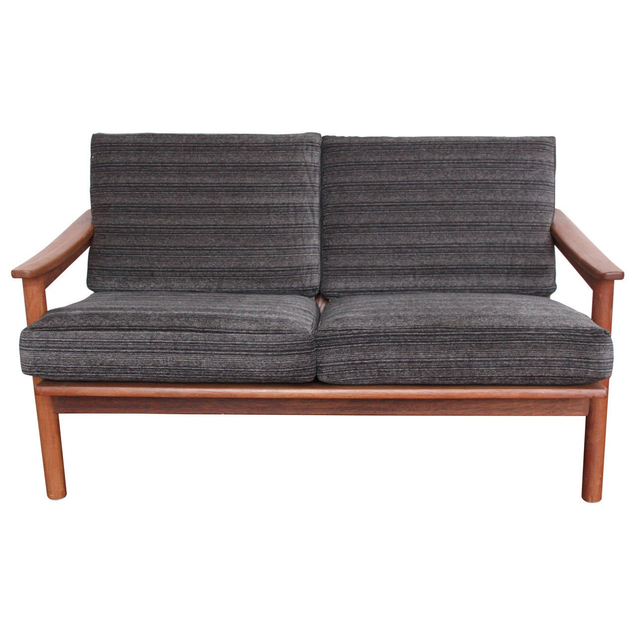 mid century modern danish teak loveseat sofa at 1stdibs. Black Bedroom Furniture Sets. Home Design Ideas