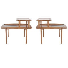 Walnut Step Tables by John Keal for Brown Saltman