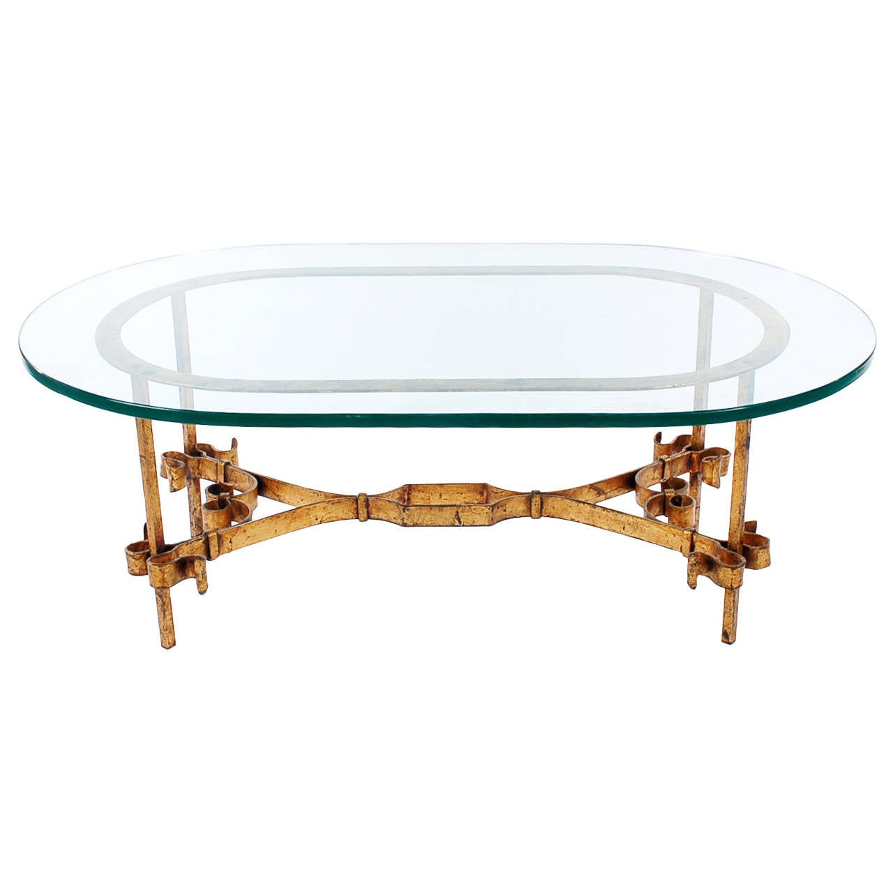 hollywood regency italian gilt iron and glass coffee table for