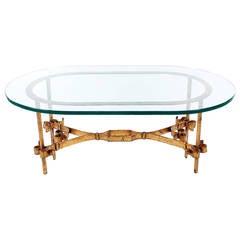 Hollywood Regency Italian Gilt Iron and Glass Coffee Table