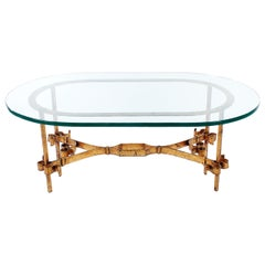 Hollywood Regency Italian Gilt Iron and Glass Coffee Table
