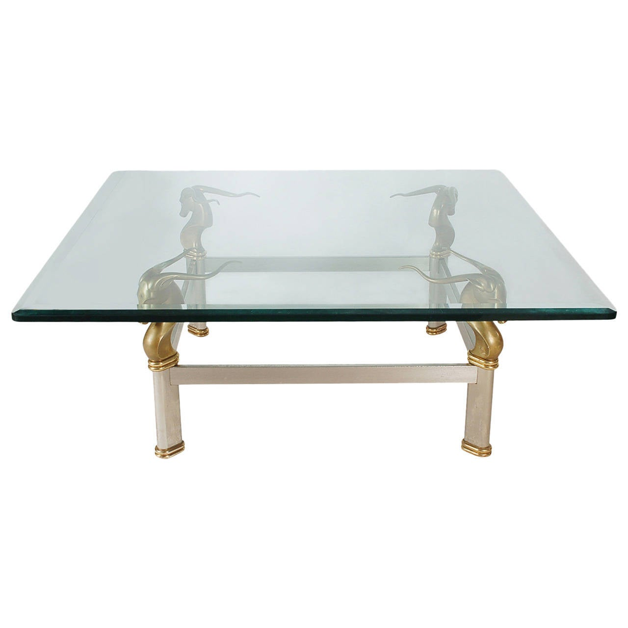 Hollywood Regency Brass and Glass Gazelle Head Cocktail Table For Sale