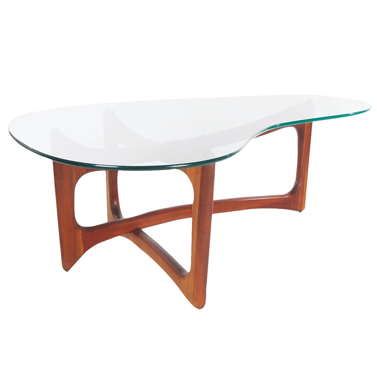 Mid-Century Modern Walnut And Glass Kidney Coffee Table By