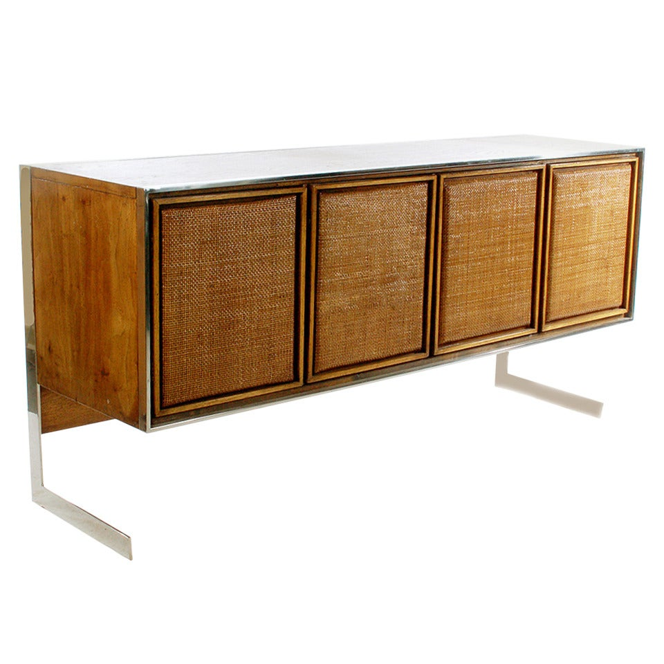 Mid Century Modern Chrome Base Credenza After Milo