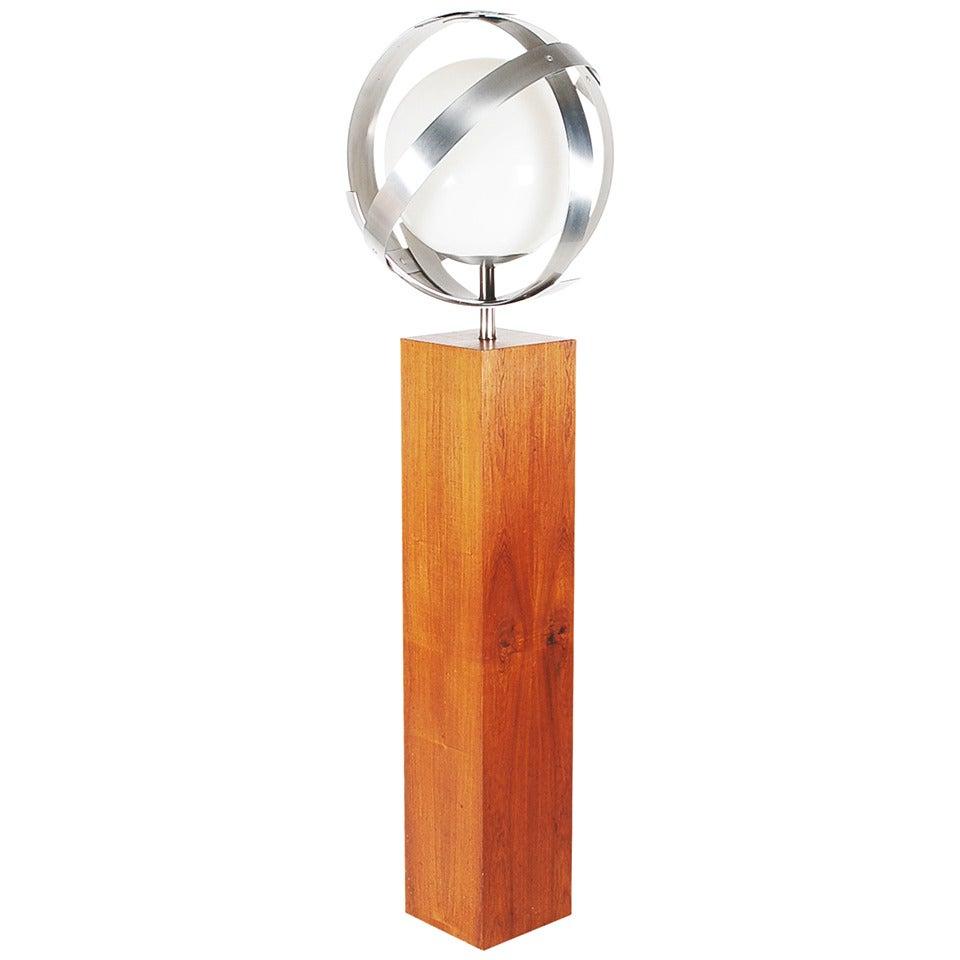 modern laurel stainless steel ring floor lamp for sale at 1stdibs. Black Bedroom Furniture Sets. Home Design Ideas