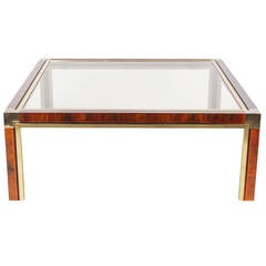 Brass and Faux Tortoise Coffee Table After Milo Baughman