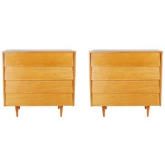 Matching Pair of Florence Knoll Maple Chests
