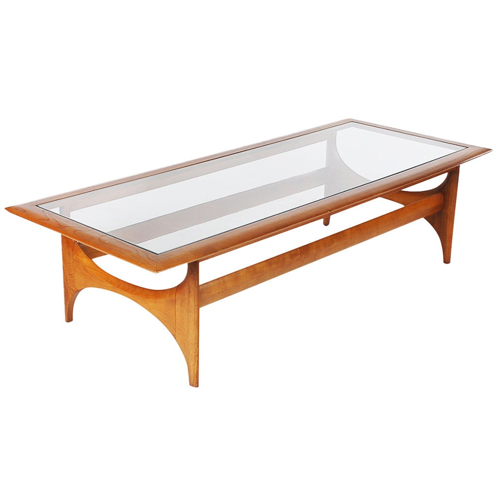 Mid Century American Modern Walnut And Glass Coffee Table At 1stdibs