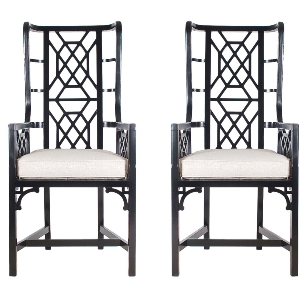 A Pair Of Period French Chairs With Missoni Fabric At 1stdibs: Modern Pair Of Black Chippendale Chinoiserie Armchairs At